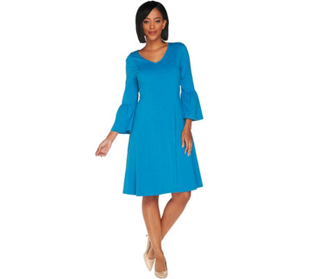 Denim & Co. Petite V-Neck 3/4 Bell Sleeve Fit & Flare Dress