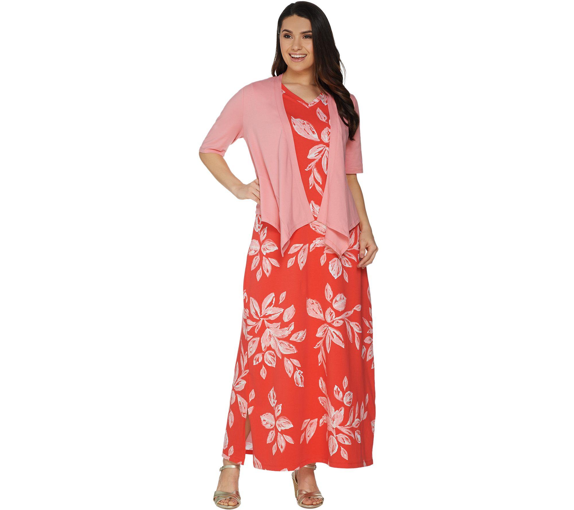 Denim & Co. Printed V-Neck Sleeveless Maxi Dress w/ Drape Front Shrug - A305335