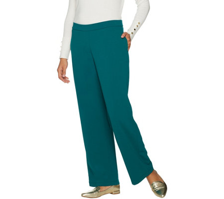"""As Is"" Susan Graver Lustra Crepe Pull-On Wide Leg Pants"