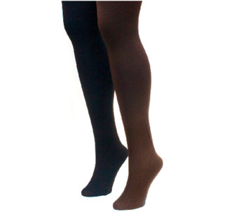 MUK LUKS Women's Fleece-Lined Tights 2-Pair Pack - A335335