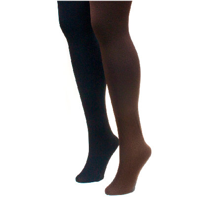 MUK LUKS Women's Fleece-Lined Tights 2-Pair Pack