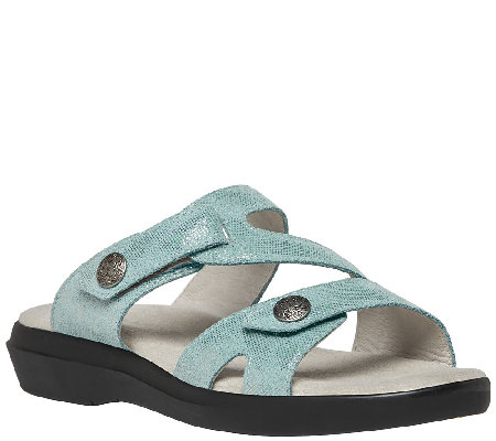 Propet Leather Slide Sandals w/ Adj. Straps - St. Lucia