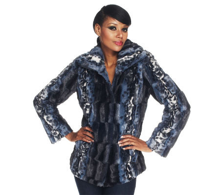 Dennis Basso Brushed Printed Faux Fur Coat with Maxi Collar
