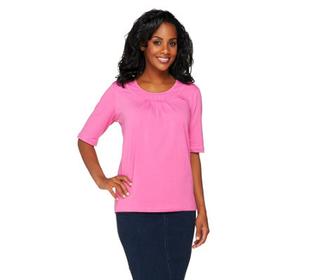 Denim & Co. Perfect Jersey Elbow Sleeve Round Neck Top w/ Pleat Detail