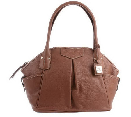 Dooney & Bourke Pebble Leather Odine Satchel with Pleat Details