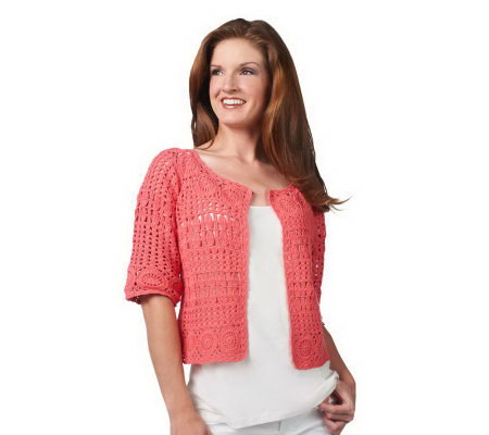 Attitudes by Renee Hand Crochet Elbow Sleeve Shrug