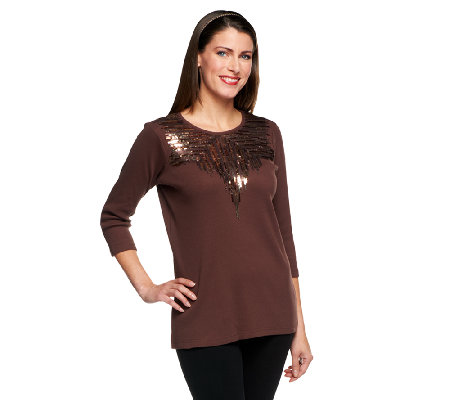 Quacker Factory Matte & Shiny Sequin Spray 3/4 Sleeve T-shirt