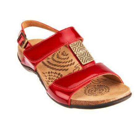 Vionic w/ Orthaheel Sonora Orthotic Leather Slide Sandals
