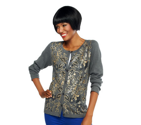 Joan Rivers Long Sleeve Embellished Cardigan