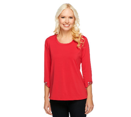 Susan Graver Butterknit U-Neck Top with Cuff Embellishments