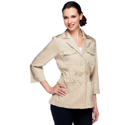 Joan Rivers Utility Jacket with 3/4 Roll Tab Sleeves