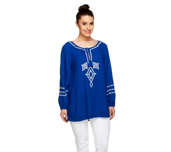 Nicole Richie Collection Tie Front Embroidered Blouse - A253136