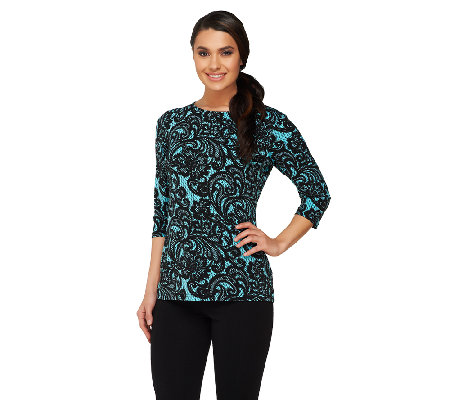 Bob Mackie's Lace Print 3/4 Sleeve Jersey Knit Top