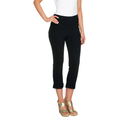 Isaac Mizrahi Live! Petite Knit Denim Crop Pants
