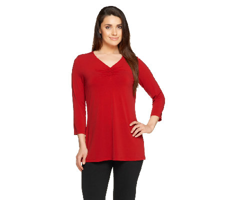Susan Graver Liquid Knit 3/4 Sleeve V-neck Tunic w/ Shirring