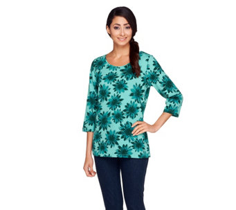 Denim & Co. Floral Print 3/4 Sleeve Knit Top - A257336
