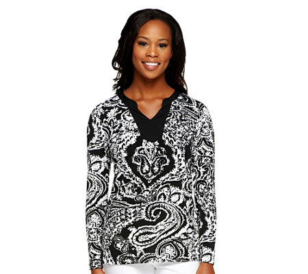 """As Is"" Susan Graver Liquid Knit Printed Long Sleeve Top"