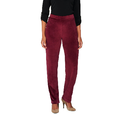 Susan Graver Velour Pull-On Straight Leg Pants - Regular