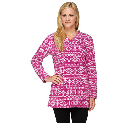 Denim & Co. Petite Printed Fleece V-neck Tunic