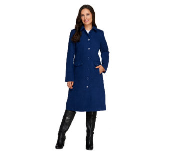 Isaac Mizrahi Live! Melton Coat with Printed Lining - A259736