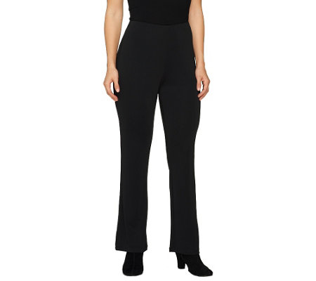 Susan Graver Petite Premier Knit Slim Boot Cut Pants