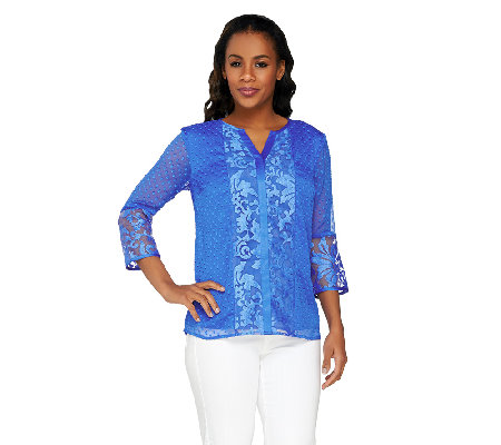Isaac Mizrahi Live! 3/4 Sleeve Embroidered Damask Top