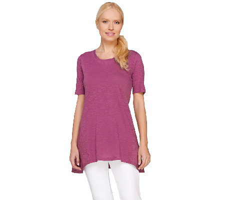 LOGO by Lori Goldstein Knit Top with Embroidered Side Godets