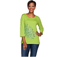 Quacker Factory Lazy Daisy Rhinestone 3/4 Sleeve T-Shirt - A264536