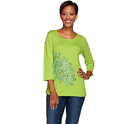 Quacker Factory Lazy Daisy Rhinestone 3/4 Sleeve T-Shirt