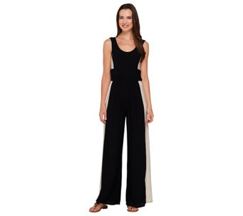 Attitudes by Renee Wide Leg Color-Block Knit Jumpsuit - A264936