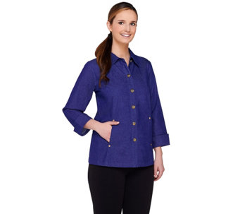 Linea by Louis Dell'Olio Button Front 3/4 Sleeve Denim Jacket - A265536