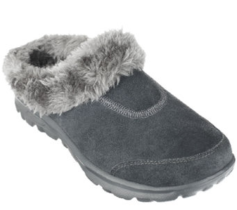 """As Is"" Skechers GOwalk Suede Clogs w/ Faux Fur Lining - A267636"