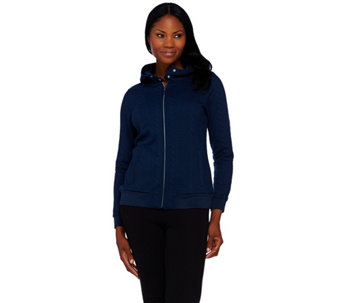 Isaac Mizrahi Live! SOHO Knit Cable Zip Up Hoodie - A268436