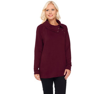 Susan Graver Weekend Brushed Back Knit Top with Button Detail - A269236