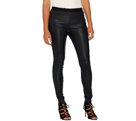 H by Halston Stretch Leather & Ponte Knit Pull-On Leggings