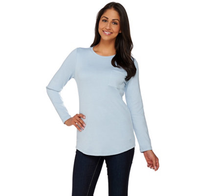 Isaac Mizrahi Live! Essentials Long Sleeve T-Shirt w/ Pocket
