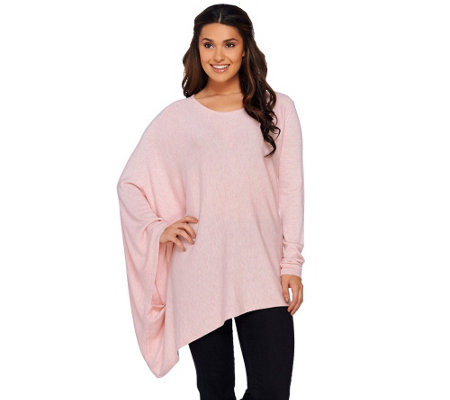 H by Halston Crew Neck Pullover Sweater Poncho