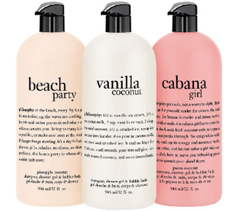 philosophy summer escape to the beach 32 oz shower gel trio - A270536