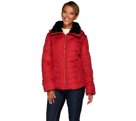 Dennis Basso Water Resistant Quilted Puffer w/ Faux Fur Collar