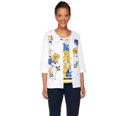 """As Is"" Quacker Factory Floral Print 3/4 Sleeve Knit Twinset"