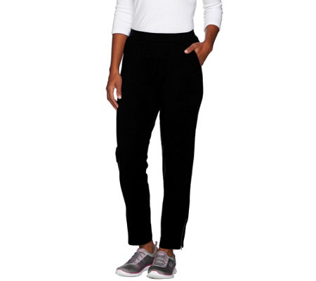 Denim & Co. Active Petite French Terry Slim Leg Pants w Zipper Detail