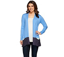 LOGO by Lori Goldstein Color-Block Cardigan with Contrast Pocket - A272836