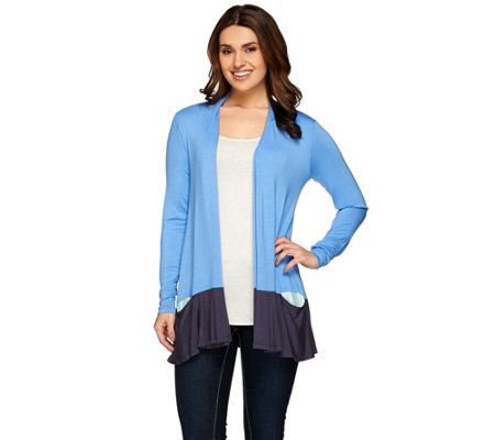 LOGO by Lori Goldstein Color-Block Cardigan with Contrast Pocket