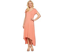 H by Halston Regular Hi-Low Hem Knit Maxi Dress - A274136