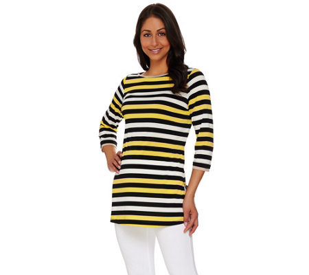 Susan Graver Striped Liquid Knit Bateau Neck 3/4 Sleeve Tunic