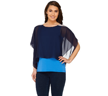 """As Is"" Susan Graver Premier Knit Bateau Neck Top with Chiffon Overlay"