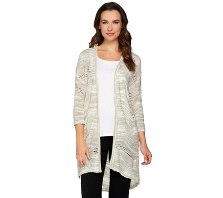 H by Halston Mixed Stitch Space Dye Open Front Cardigan