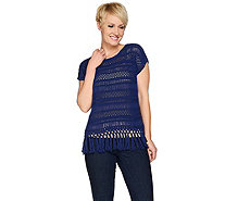 C. Wonder Knit Crochet Extended Shoulder Top w/ Tassel Trim - A275636