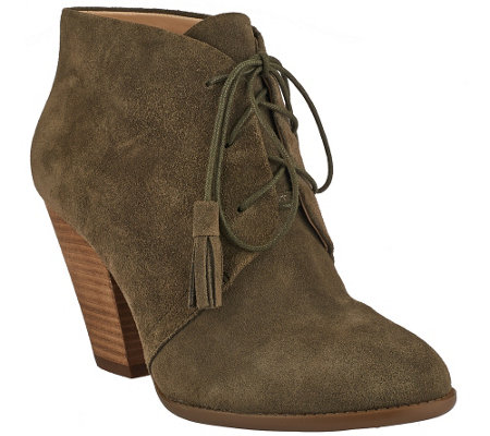 """As Is"" Sole Society Suede Lace-Up Ankle Boots - Tallie"