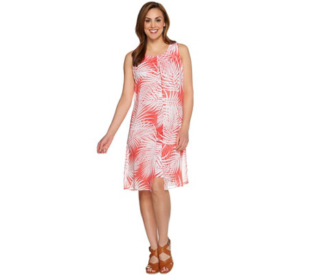 Susan Graver Printed Liquid Knit Dress w/ Sheer Chiffon Overlay